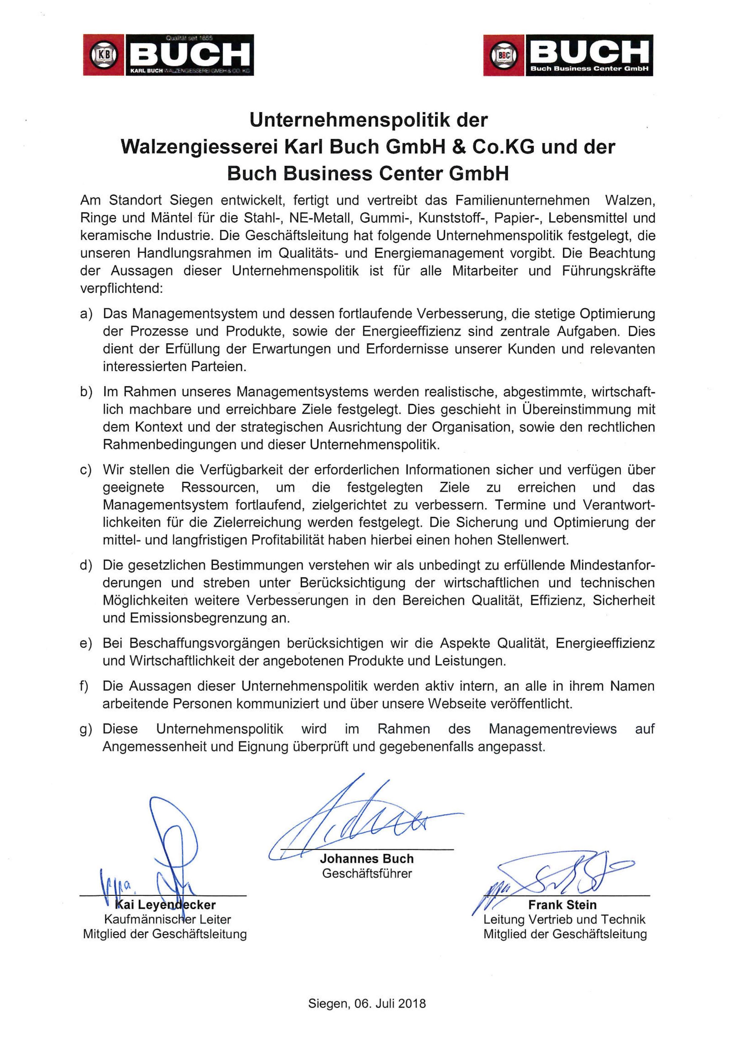 Unternehmenspolitik Karl Buch